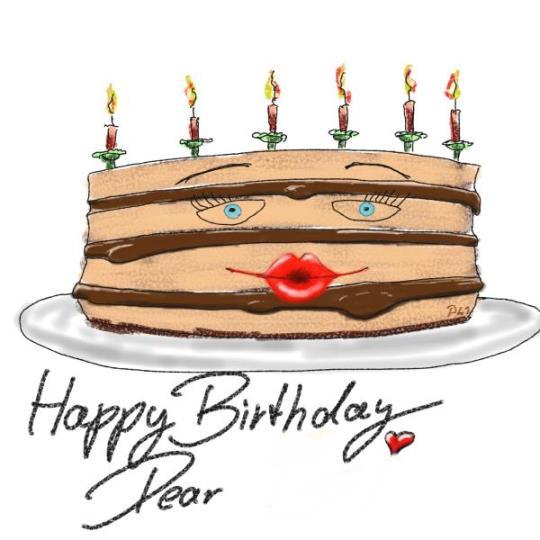 Ein Geburtstagskuchen mit Painter auf grobem Papier
