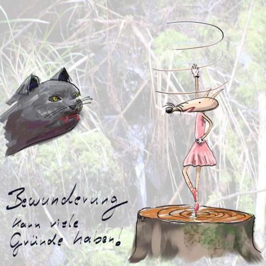 einfache Illustration mit Katze und Maus für einen Kinderkalender