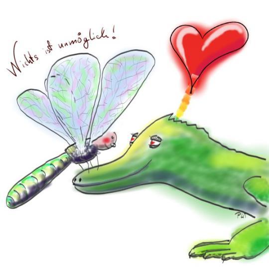 einfache Illustration mit Libelle und Krokodil für einen Kinderkalender