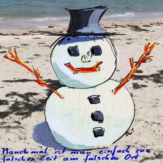 Schneemann am sommerlichen Strand (Painter X mit Spachtel)