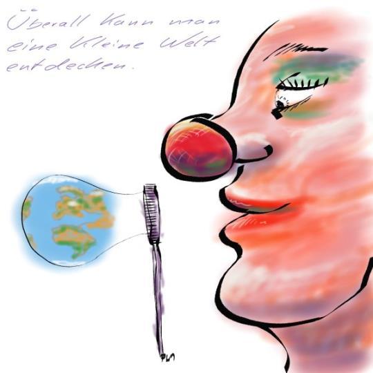 Weltkugel als Seifenblase: Überall kann man eine kleine Welt entdecken; Illustration Painter X